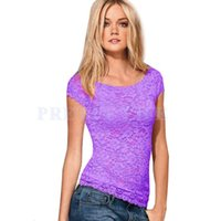 2014 Top da donna T-shirt T del bicchierino del merletto Tartaruga collo manica femminile migliori Crop blusas feminias Sexy Lace base Shirt 36