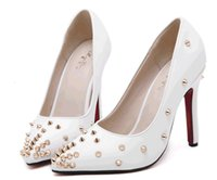 big apricot - 2015 New charm Thick with Women Lady Bridal Wedding Shoes rivet pointed big size US4 US8 NSHX85