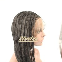 Wholesale 2015 the hot sell braided with baby hair synthetic lace front wig heat resistant for black women