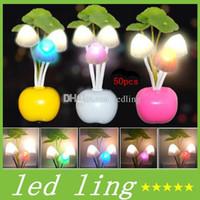 Wholesale CREE RGB Breathing Night Lights EU US Plug Electric Induction Dream Mushroom Fungus Lamp High Quality LEDs Nightlight Bulb Home Decor