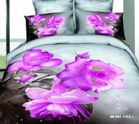 100% cotton sheet - 3d Bedding Set pc Cotton Gorgeous Pink Chinese Rose Printed Comforter Set Queen Size Duvet Cover Fitted Bed Sheet