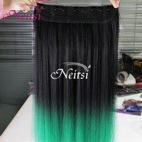 hair weft ponytail extensions - Neitsi Green inch Synthetic Clip in Ponytail Extensions Straight Synthetic Hair Ponytails for Cosplay Party Casual Synthetic Ponytails
