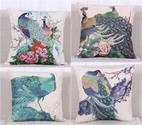 Wholesale New Chinese Style Colorful Peacock Home Pillow Case Cushion Cover New Chinese Style Colorful Peacock Home Pillow Case Cushion Cover