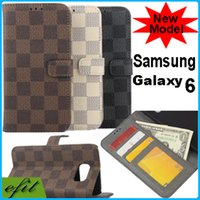book flip - New S6 Retro Luxury Plaid pattern PU Leather Case Book Flip Wallet Credit Card Slot Stand Cases For Samsung Galaxy S6 G9200 G920F Top Qualit