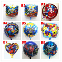 Wholesale 50pcs inch mix superman batman spiderman foil mylar balloons Cartoon Foil Ballons Decoration Birthday Party For Kids