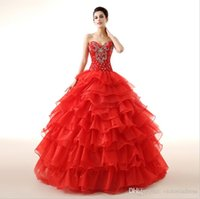short corset dresses for prom - Cheap Red Quinceanera Dresses Sweetheart Beading Corset and Tulle Debutante Floor Length Formal For Sweet Girls Masquerade Ball Gowns