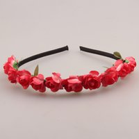 Wholesale 20 Colors Rose Flower Crown Festival Headband Headwear Wedding Garland Floral Hairband Accessories