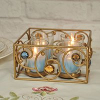 Wholesale CUPS Crystal Candlestick Weeding Home Decor square Bar type Candle Holder Romantic Dinner