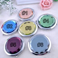 Wholesale Cosmetic Compact Mirror Crystal Magnifying Make Up Mirror Wedding Gift for Guests New Arrival