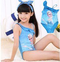 Wholesale Frozen Elsa Anna Princess Swimwear Girls One Piece Bathing Suit snow queen swimsuit One Shoulder Strap Bodysuit blu Epacket