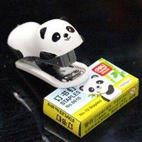 Wholesale 12sets cartoon panda stapler with stitching needle Fashion Mini stapler lovely cartoon panda pattern stapler a series of stationery