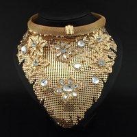 Acheter Bijoux de mode indienne-2015 Indian Chic Style Bijoux Femmes Col Bib colliers Chokers Mode Rhinestone Metal Bijoux Pendants Colliers # 2884