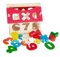 wooden matches - Small wooden toys number House Shape matching Digital Puzzle Toy Educational toy