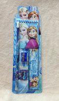 Wholesale 2014 new arrival Frozen princess doll pattern stationery set loose leaf notebook wooden pencil eraser penknife ruler pce set