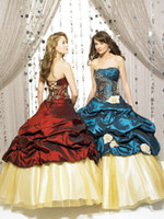 beauty sweets - Taffeta Sweet Sixteen Qinceanera Dresses Spring Gold Lace Strapless Masquerade Ball Gown Flowers Beauty Pageant Prom Dress Floor Length