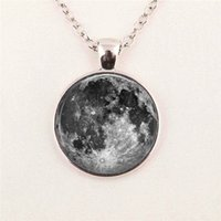 Cheap 8 different style Blue Mint green moon necklace full moon jewelry, moon pendant, lunar Space moon pendant glass gemstone necklace 94