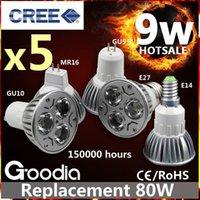 Precio de Cree llevó la garantía-Luz de bulbo del CREE 9W LED E27 GU10 GU5.3 MR16 E14 Bombilla del proyector de la seguridad 5 años de garantía ENVÍO LIBRE