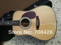 Wholesale real abalone binding free hardcase new arrival flower inlay d45s solid jumbo acoustic guitar new model