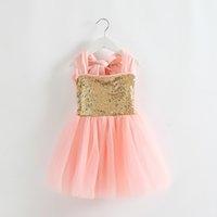 american girl stock - 2015 European Style In Stock Summer Girl Sequin Dress Princess Dress Children Backless Bow Suspender Tulle Tutu Dress Kids Party Full Dress