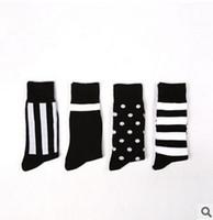 mens socks - 1lot pairs business mens dress socks simple design black striped dot sock for men long mens socks newest