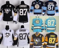 Wholesale 2015 Youth Pittsburgh Penguins Sidney Crosby Hockey Jerseys Home Black White New Alternate Kids Sidney Crosby Jersey C Patch