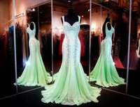 Cheap 2015 Sexy Mint Mermaid Prom Pageant Dress With Sweetheart Neckline Low Open Back Sparkling Crystal Beads Chiffon Celebrity Red Carpet Dress