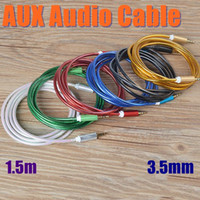 Wholesale 3 mm AUX Audio Cables Male To Male m Stereo Car Extension Auxiliary Adapter Colorful For MP3 Players Samsung DHL Free CAB084