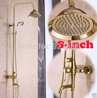 """Cheap Luxury Wall Mounted Rainfall 8"""" Shower Head Shower Mixer Faucet Set Gold-plating Bathroom Tub Shower Faucet Taps"""