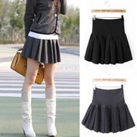 high school uniforms - New Women Mini Skirt Teenager Girls School Uniform Pleated Woolen Skirts Vintage Wool Lady High Waisted Skirt Pure Black Gray SV004966