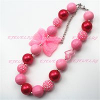 Wholesale Pink Knot Children Girls Bubblegum Chunky Necklace Valentines Girls Necklace CB541