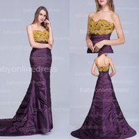 Wholesale Glitz Gold Crystal Evening Gowns Purple Taffeta Semi sweetheart Beaded Backless Ruched Ruffles Long Formal Prom Dresses BZP0367