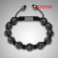 acrylic plastic balls - Nialaya New black cool Diamonds ball bracelet Shamballa cool black natural stone tresor alloy Silver Plated man s Adjustable braceletZXF8390
