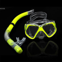 Wholesale New Fluorescence Yellow Scuba Diving Equipment Dive Mask Dry Snorkel Set Scuba Snorkeling Gear Kit