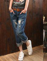 baggy boyfriend jeans - Fashion summer jeans boyfriend Women Vintage Holes Ripped Jeans Denim Trousers Female Retro Denim Women Europe baggy BF jeans