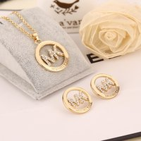 alloy studs - MK Michael Kores style High quality Crystal Jewelry sets necklace and stud earrings set letter brand jewellery for women Silver Gold