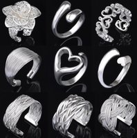 Wholesale Top Grade Silver Band Ring Hot Sale Fashion Finger Rings For Women Girl Party Gift Open Size Jewelry Free Ship RX