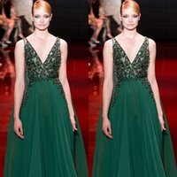 rep - Emerald Green Elie Saab Evening Dresses High Quality V Neck A Line Crystal Lace Chiffon Celebrity Rep Carpet Dresses Runway Fashion
