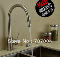 Wholesale Kitchen Deck Brass Brushed Sink Faucet Mixer Tap Swivel Spout Pull Out Sprayer Cock Crane Water Tap