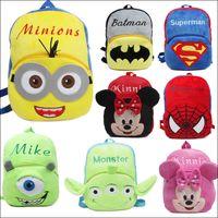 Wholesale 1 Y Kids school bag Fashion Suprman Minions Batman backpack High quality Baby Cartoon plush Bag cm MOQ SVS0461