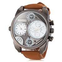 Wholesale Men s Military Watch Dual Time Zones BIG dial Leather Band movement replicas watches men
