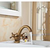 antique double vanities - And Retail Deck Mounted Antique Brass Roman Faucet Double Handles Vanity Sink Mixer Tap