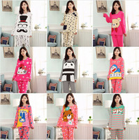 Wholesale Multi Warm Cartoon Winter Pajamas Women Nightgown Sleepwear Cotton Long Sleeve Home Clothing Womens Tracksuit Nightwear pajamas sleepwear