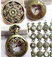 classical pocket watch - Mini Retro Vine classical Pocket Watch Bronze Steampunk Quartz Necklace Pendant Chain Clock Floral Hollow watches
