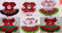 Wholesale Christmas Xmas baby clothes baby girl s embroidery christmas tree santa claus tutu bodysuit romper short sleeved fluffy baby dress rompers