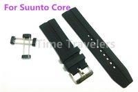 Para mayor-Suunto Core Ver Banda 24MM Negro de goma suave de silicona impermeable + inoxidable de la hebilla + adaptadores + agarraderas de envío gratuito - 185