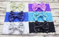 beautiful turbans - Baby Girls Hair Hoops Sequin Bows Headband With Lace Bright Knot Bow Turban Headband In Beautiful Decorative Christmas Headwrap BY0000