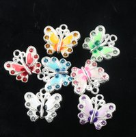 Charms enamel charms - MIC Colors X20 mm Silver Plated Enamel Rhinestone Crystal Butterfly Charms Pendant Jewelry DIY Jewelry Findings Components L1559