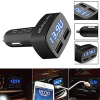 car tester - 4 In Dual USB Car Charger Adapter Voltage DC V A Tester with Voltage Temperature Current Meter Tester LED Display for iPhone