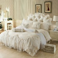 Cheap Wholesale-Light white Jacquard Silk Princess bedding set 4pcs silk Lace Ruffles duvet cover bedspread bed skirt bedclothes king queen size