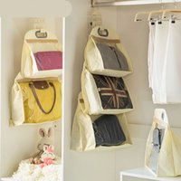 Wholesale Hanging Purse Organiser Non Woven Transparent Storage Bag Handbag Dust Cover Clothes Wardrobe hanging storage bags Small Medium Large beige
